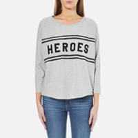 Maison Scotch Women's Loose Fitted Sweatshirt With A Raw Hem Grey Melange