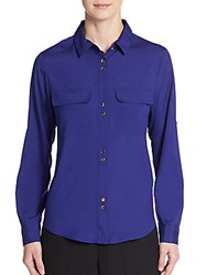 Ivanka Trump Woven Button Front Top Ink