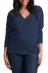 Women's Bun Maternity 'Softie' Maternity Nursing Dolman Sleeve Tee Navy