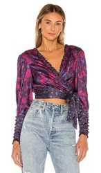 For Love And Lemons Pixie Wrap Top In Purple Pink. Tinsel Floral