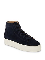 Helmut Lang Leather High Top Sneakers Navy