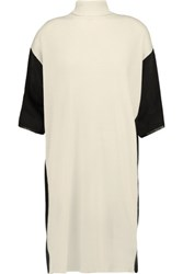 Maison Martin Margiela Mm6 Two Tone Lace Trimmed Crepe And Ribbed Knit Turtleneck Dress Beige