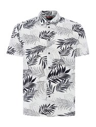Criminal Simpson Leaf Print Short Sleeve Shirt White