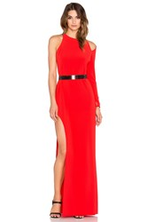 Halston Asymmetrical Embellished Gown Red