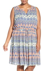 Lucky Brand Plus Size Women's 'Stained Glass' Print Blouson Dress