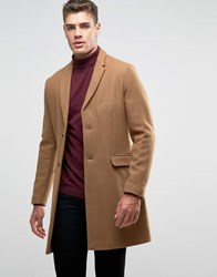 Pull And Bear Pullandbear Wool Overcoat In Tan Tan