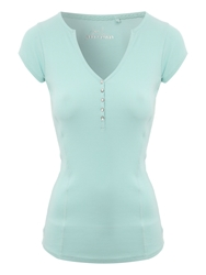 Jane Norman Ribbed Henley T Shirt Blue