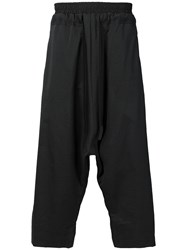 Lost And Found Ria Dunn Dropped Crotch Cropped Trousers Cotton Silk Black
