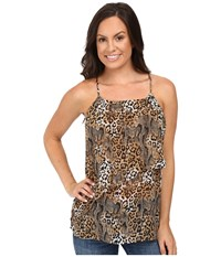 Roper 0223 Leopard Print Chiffon Tank Top Brown Women's Sleeveless