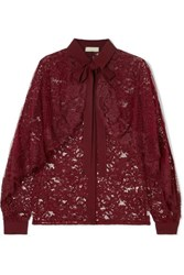 Elie Saab Cape Effect Lace And Swiss Dot Tulle Blouse Burgundy