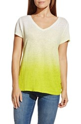 Women's Two By Vince Camuto Ombre V Neck Linen Tee Solar Glow