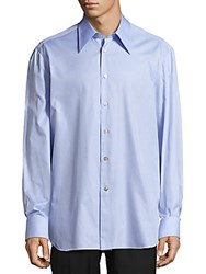 Kiton Solid Cotton Button Down Shirt Blue