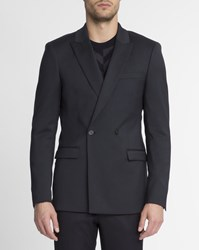 Sandro Navy Blue Double Breasted Slim Fit Wool Jacket