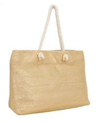 Magid Metallic Straw Tote Bag Gold