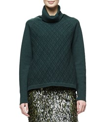 Lela Rose Long Sleeve Turtleneck Sweater Olive Green Women's