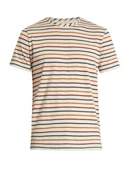 Oliver Spencer Breton Striped Cotton Jersey T Shirt Beige Multi