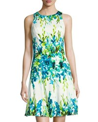 Maggy London Floral Print Fit And Flare Dress Blue White