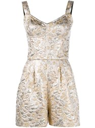 Dolce And Gabbana Floral Brocade Playsuit Metallic