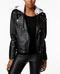 Joujou Jou Jou Faux Leather Hooded Moto Jacket Black
