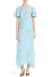 Diane Von Furstenberg Women's Flutter Sleeve Print Silk Maxi Dress