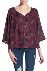 Jack Front Tie 3 4 Sleeve Paisley Blouse Red