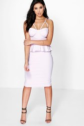 Boohoo Strappy Bodice Peplum Dress Ivory