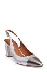 Shoes Of Prey Women's Slingback Pump Silver Shiny Leather