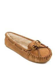 Minnetonka Cally Suede Faux Fur Lined Moccasins Cinnamon