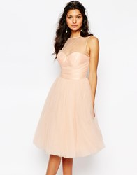 Chi Chi London Tulle Dress In Midi Length With Pleated Bust Pink