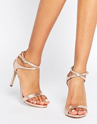 Call It Spring Staval Rose Gold Heeled Strap Sandals Gold