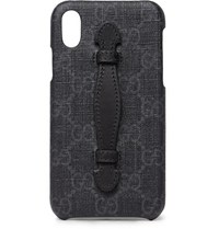 Gucci Leather Trimmed Monogrammed Coated Canvas Iphone X Case Black