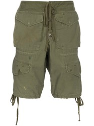 Greg Lauren Army Cargo Shorts Green