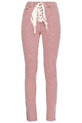 Rockins Lace Up Striped High Rise Skinny Jeans Red