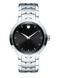 Movado Luno Stainless Steel Analog Bracelet Watch Silver Black