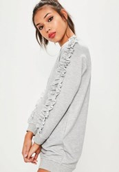 Missguided Petite Exclusive Grey Frill Sleeve Sweater Dress