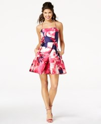 Amy Byer Bcx Juniors' Floral Print Fit And Flare Dress Navy Pink