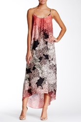 Love Ady Strappy Abstract Print Hi Lo Maxi Dress Red