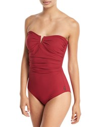 Shan Les Essentiels Bandeau Notched One Piece Swimsuit Red