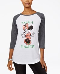 Freeze 24 7 Disney Juniors' Minnie Mouse Holiday Graphic Baseball T Shirt White Charcoal