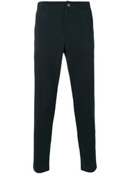 Paolo Pecora Tapered Cropped Trousers Men Cotton Polyester M Blue