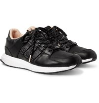 Adidas Consortium Avenue Eqt 93 16 Support Embroidered Leather Sneakers Black