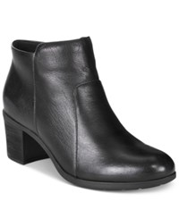 Easy Spirit Billian Block Heel Ankle Booties Women's Shoes Black Leather