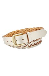 Women's Fossil 'Mystery Braid' Leather Belt Champagne