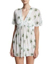 Milly Bari Palm Tree Printed Coverup Dress White Green Multi