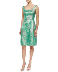 Kalinka Sleeveless Scoop Neck Brocade Cocktail Dress Green Silver