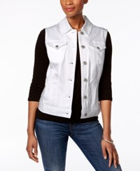 Style And Co Petite Denim Vest Only At Macy's Bright White