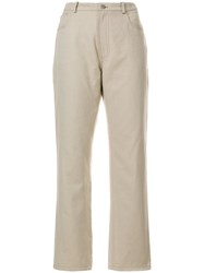 J.W.Anderson Leather Pocket Jeans Cotton Nude Neutrals