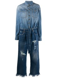 Pinko Distressed Cropped Jumpsuit Blue