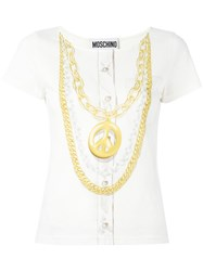 Moschino Peace Necklace Print Top White