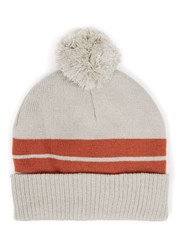 Topman Grey And Orange Stripe Bobble Beanie Hat